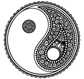 Yin-yang decorative symbol. Hand drawn vintage style design element.